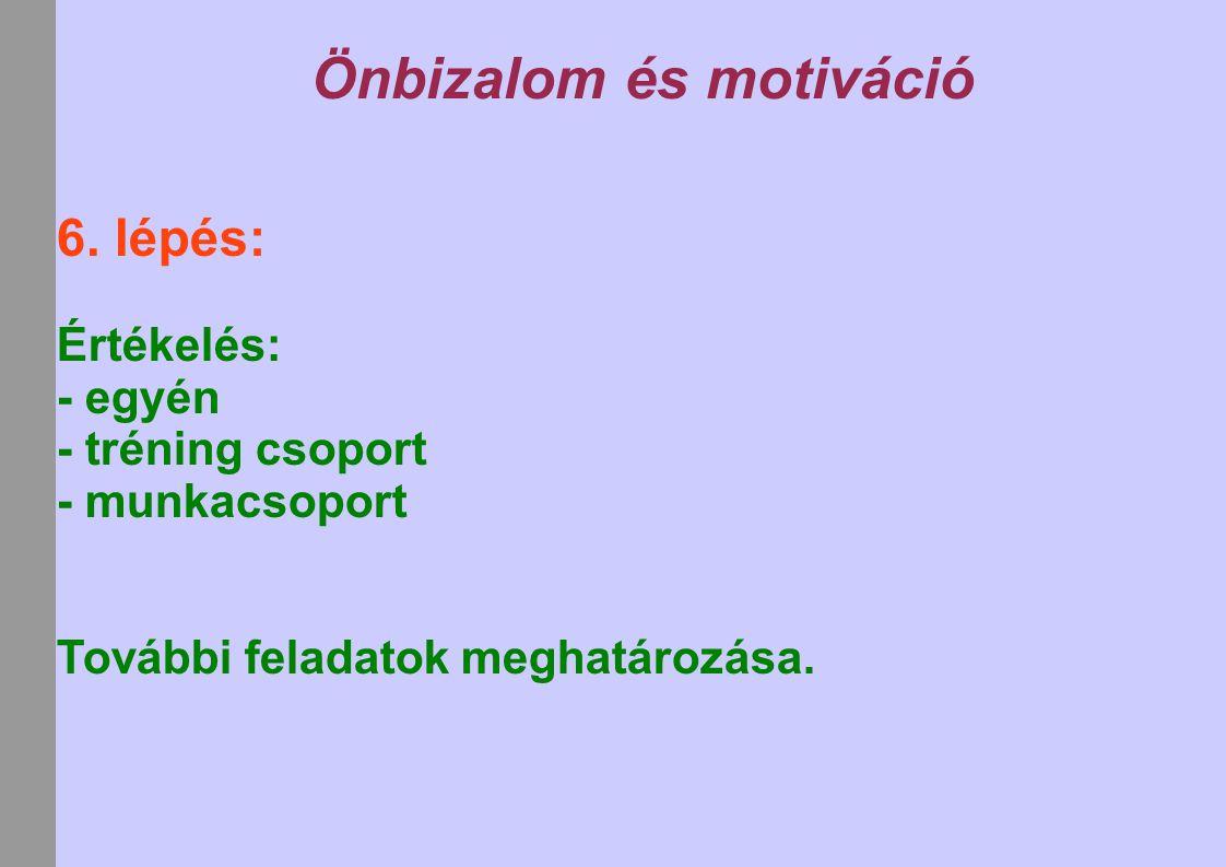 Önbizalom és motiváció 6. lépés: Értékelés: - egyén - tréning csoport - munkacsoport További feladatok meghatározása.