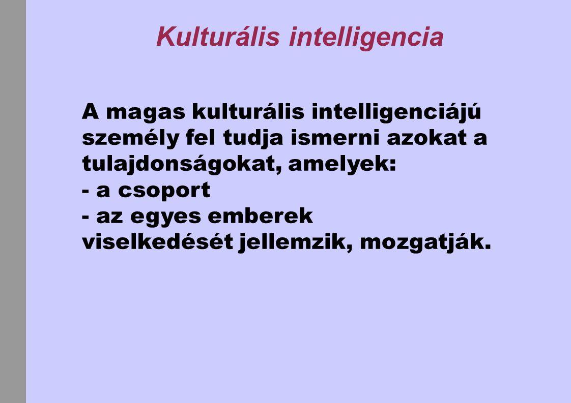 Kulturális intelligencia A magas kulturális intelligenciájú személy fel tudja ismerni azokat a tulajdonságokat, amelyek: - a csoport - az egyes embere