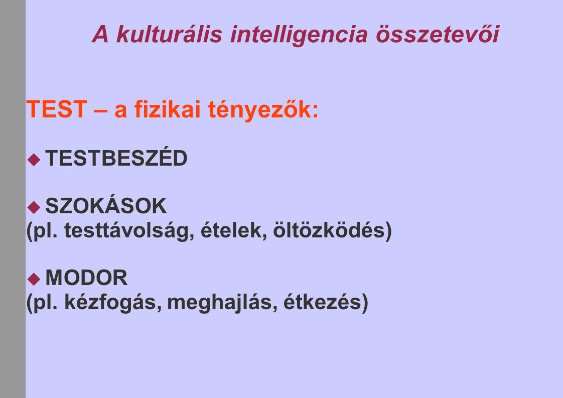 A kulturális intelligencia összetevői TEST – a fizikai tényezők:  TESTBESZÉD  SZOKÁSOK (pl. testtávolság, ételek, öltözködés)  MODOR (pl. kézfogás,