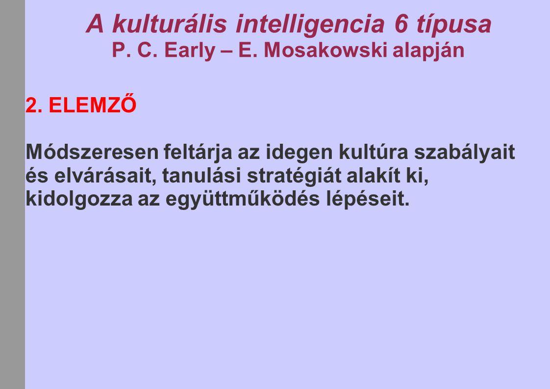 A kulturális intelligencia 6 típusa P. C. Early – E. Mosakowski alapján 2. ELEMZŐ Módszeresen feltárja az idegen kultúra szabályait és elvárásait, tan
