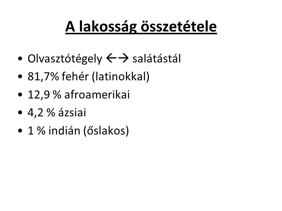 A lakosság összetétele Olvasztótégely  salátástál 81,7% fehér (latinokkal) 12,9 % afroamerikai 4,2 % ázsiai 1 % indián (őslakos)