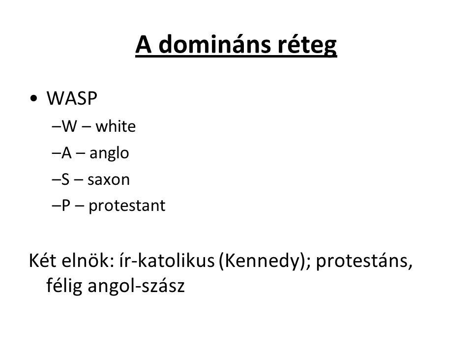A domináns réteg WASP –W – white –A – anglo –S – saxon –P – protestant Két elnök: ír-katolikus (Kennedy); protestáns, félig angol-szász