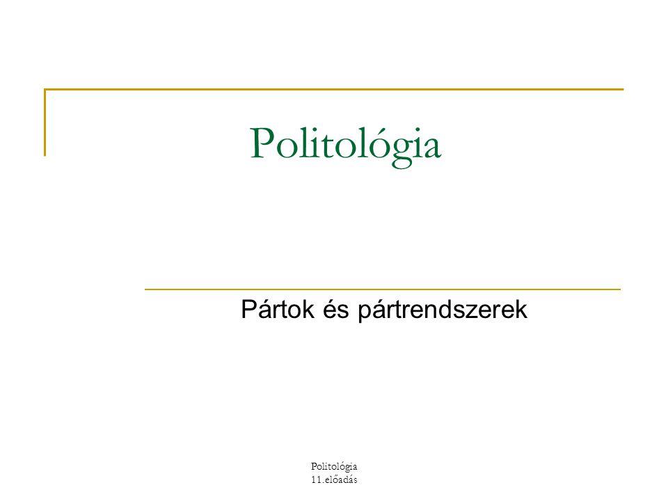Politológia 11.előadás A politikai pártok történeti típusai  Protopártok (képviselők laza csoportosulásai, parlamenti frakciók, parlamenten kívüli szervezetrendszer nélkül)  Tömegpártok – A párt erejét a taglétszám és a kiterjedt szervezeti háló adja.