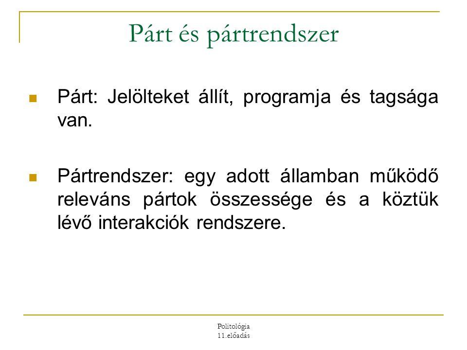 Politológia 11.előadás Párt és pártrendszer Párt: Jelölteket állít, programja és tagsága van. Pártrendszer: egy adott államban működő releváns pártok
