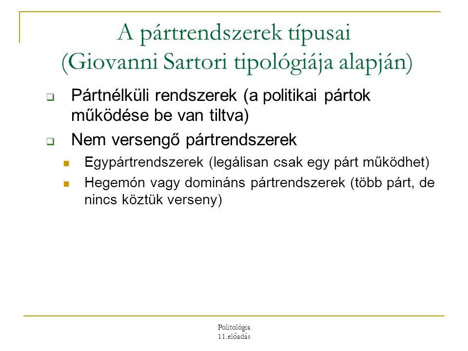 Politológia 11.előadás  Versengő pártrendszerek Predomináns pártrendszerek (van verseny, de tartósan egy párt kormányoz) Kétpártrendszerek (két nagy párt váltógazdálkodása, stabil egypárti kormányok, centripetális verseny) Mérsékelt többpártrendszerek (3-6 parlamenti párt, koalíciós kormányok, kétpólusú pártrendszer, centripetális verseny) Polarizált sokpártrendszerek (6-10 vagy még több parlamenti párt, instabil koalíciós kormányok, 3 pólusú pártrendszer is lehet (!), centrifugális verseny)