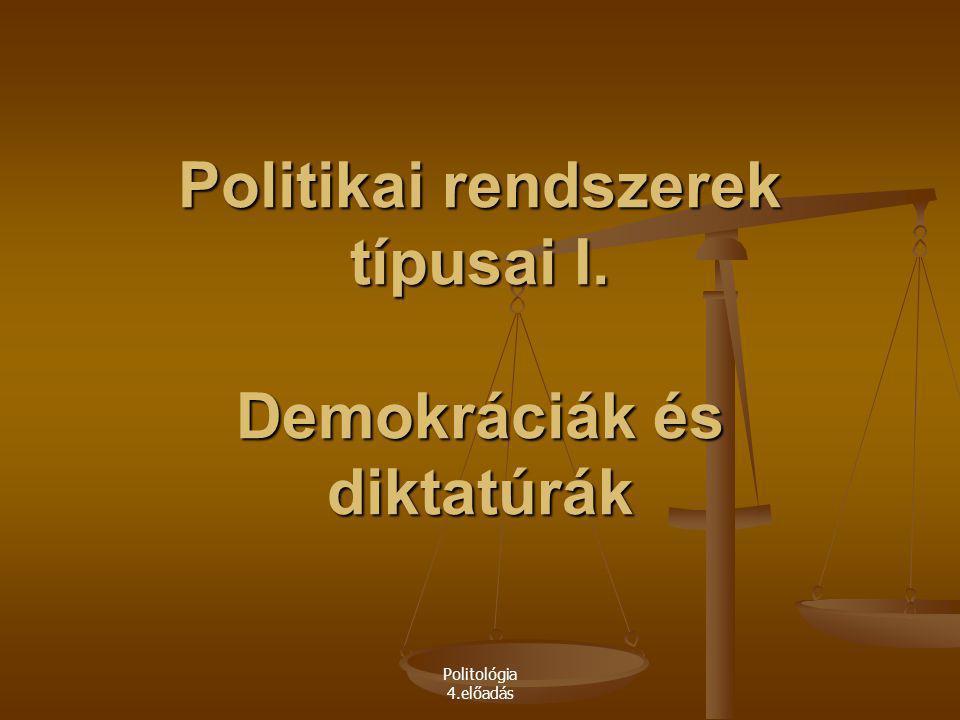 Politológia 4.előadás Politikai rendszerek típusai I. Demokráciák és diktatúrák