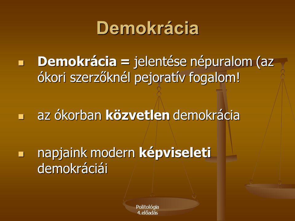 Politológia 4.előadás Demokrácia Demokrácia = jelentése népuralom (az ókori szerzőknél pejoratív fogalom! Demokrácia = jelentése népuralom (az ókori s