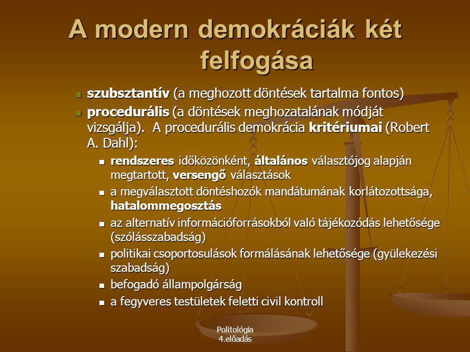 Politológia 4.előadás A modern demokráciák két felfogása szubsztantív (a meghozott döntések tartalma fontos) szubsztantív (a meghozott döntések tartal