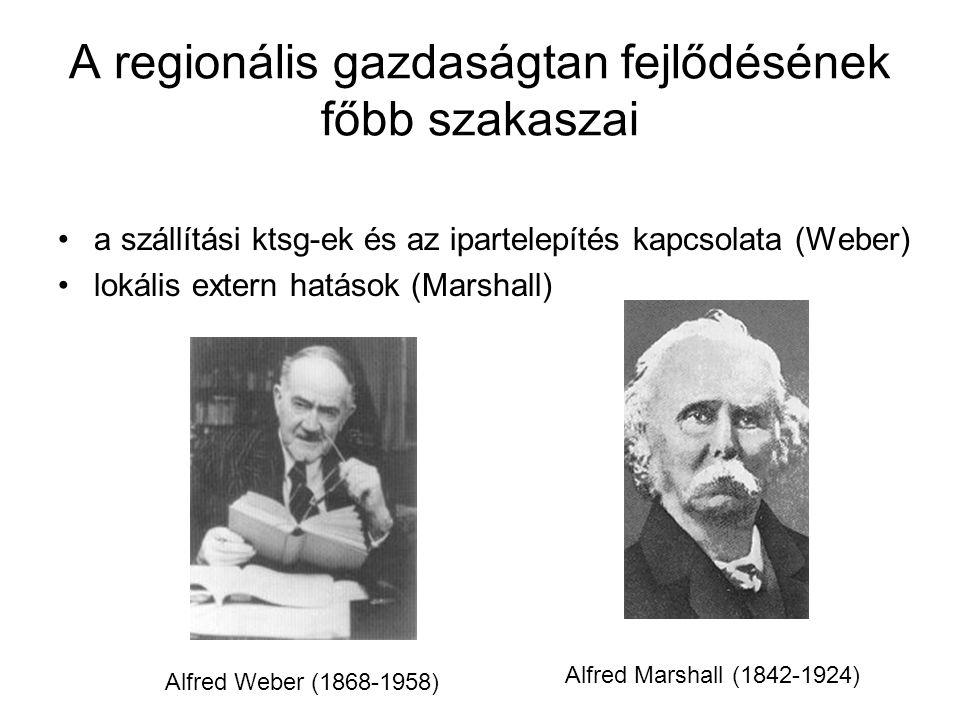 A regionális gazdaságtan fejlődésének főbb szakaszai a szállítási ktsg-ek és az ipartelepítés kapcsolata (Weber) lokális extern hatások (Marshall) Alfred Weber (1868-1958) Alfred Marshall (1842-1924)