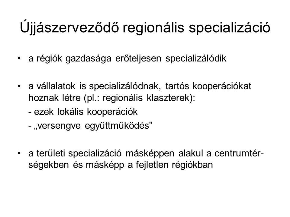 """Újjászerveződő regionális specializáció a régiók gazdasága erőteljesen specializálódik a vállalatok is specializálódnak, tartós kooperációkat hoznak létre (pl.: regionális klaszterek): - ezek lokális kooperációk - """"versengve együttműködés a területi specializáció másképpen alakul a centrumtér- ségekben és másképp a fejletlen régiókban"""