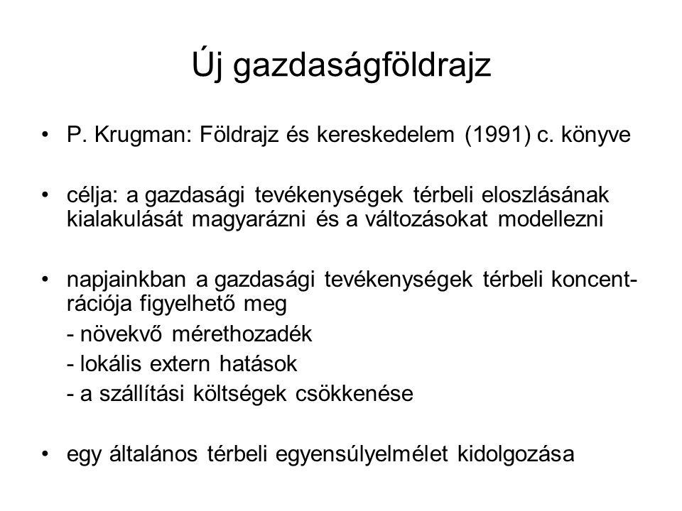 Új gazdaságföldrajz P.Krugman: Földrajz és kereskedelem (1991) c.