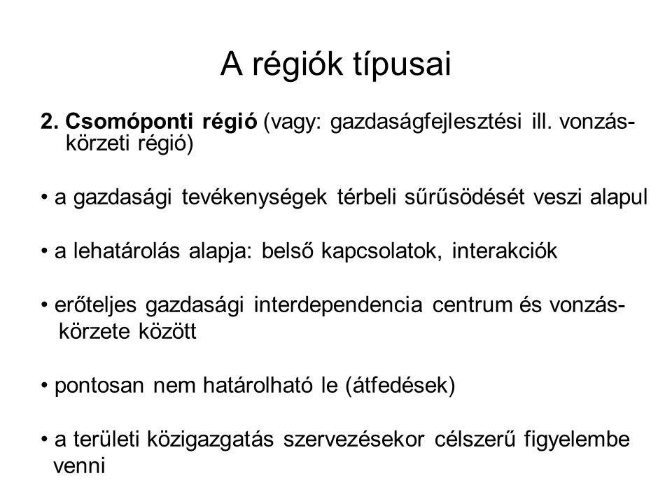 A régiók típusai 2.Csomóponti régió (vagy: gazdaságfejlesztési ill.