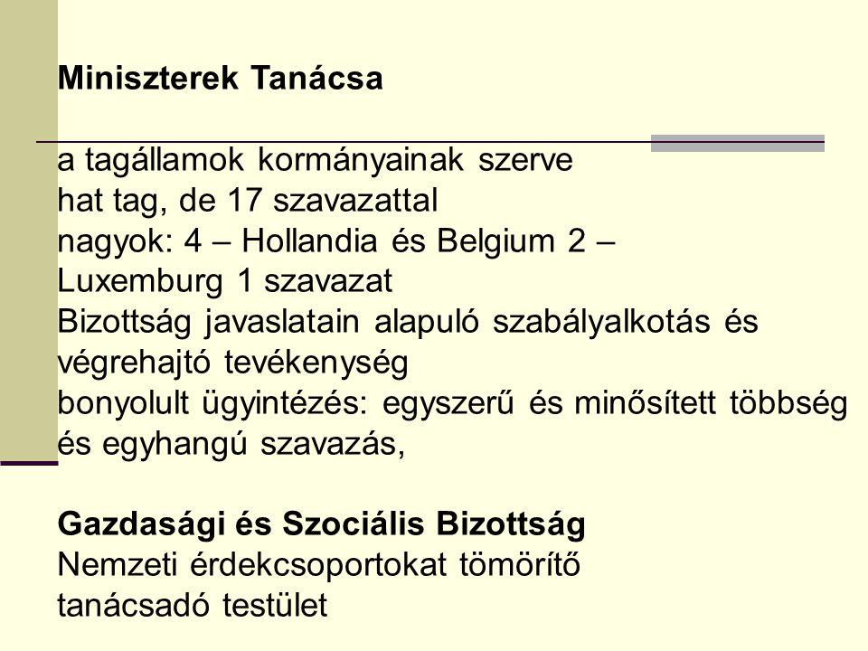 Miniszterek Tanácsa a tagállamok kormányainak szerve hat tag, de 17 szavazattal nagyok: 4 – Hollandia és Belgium 2 – Luxemburg 1 szavazat Bizottság ja