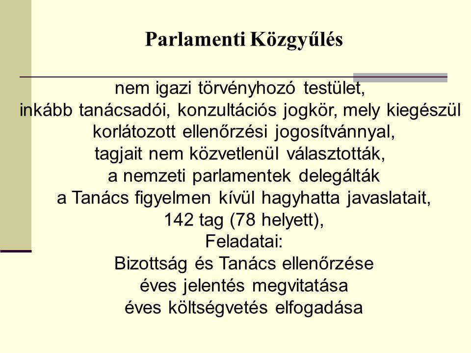 Parlamenti Közgyűlés nem igazi törvényhozó testület, inkább tanácsadói, konzultációs jogkör, mely kiegészül korlátozott ellenőrzési jogosítvánnyal, tagjait nem közvetlenül választották, a nemzeti parlamentek delegálták a Tanács figyelmen kívül hagyhatta javaslatait, 142 tag (78 helyett), Feladatai: Bizottság és Tanács ellenőrzése éves jelentés megvitatása éves költségvetés elfogadása