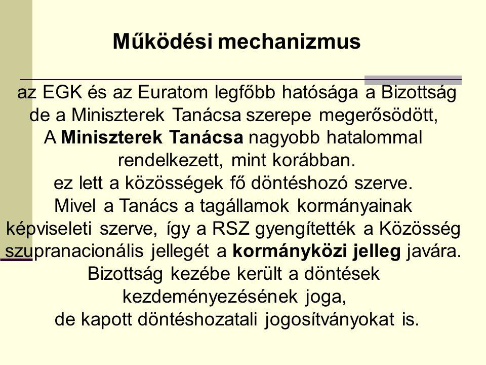 Működési mechanizmus az EGK és az Euratom legfőbb hatósága a Bizottság de a Miniszterek Tanácsa szerepe megerősödött, A Miniszterek Tanácsa nagyobb ha