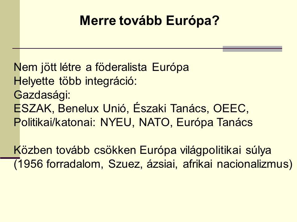 Merre tovább Európa? Nem jött létre a föderalista Európa Helyette több integráció: Gazdasági: ESZAK, Benelux Unió, Északi Tanács, OEEC, Politikai/kato