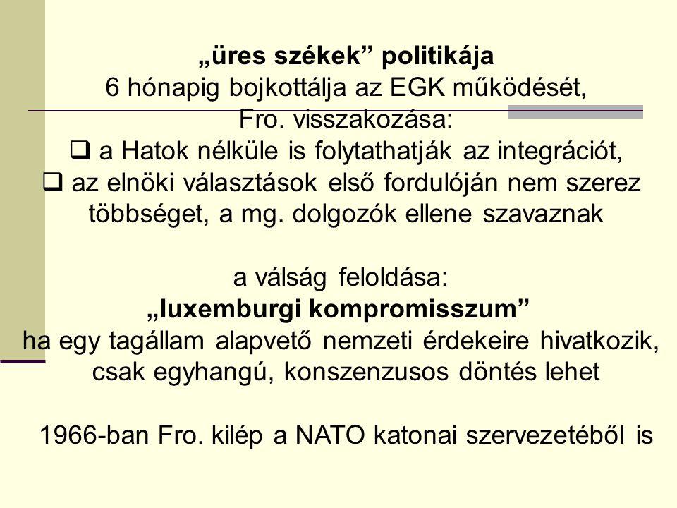 """""""üres székek"""" politikája 6 hónapig bojkottálja az EGK működését, Fro. visszakozása:  a Hatok nélküle is folytathatják az integrációt,  az elnöki vál"""