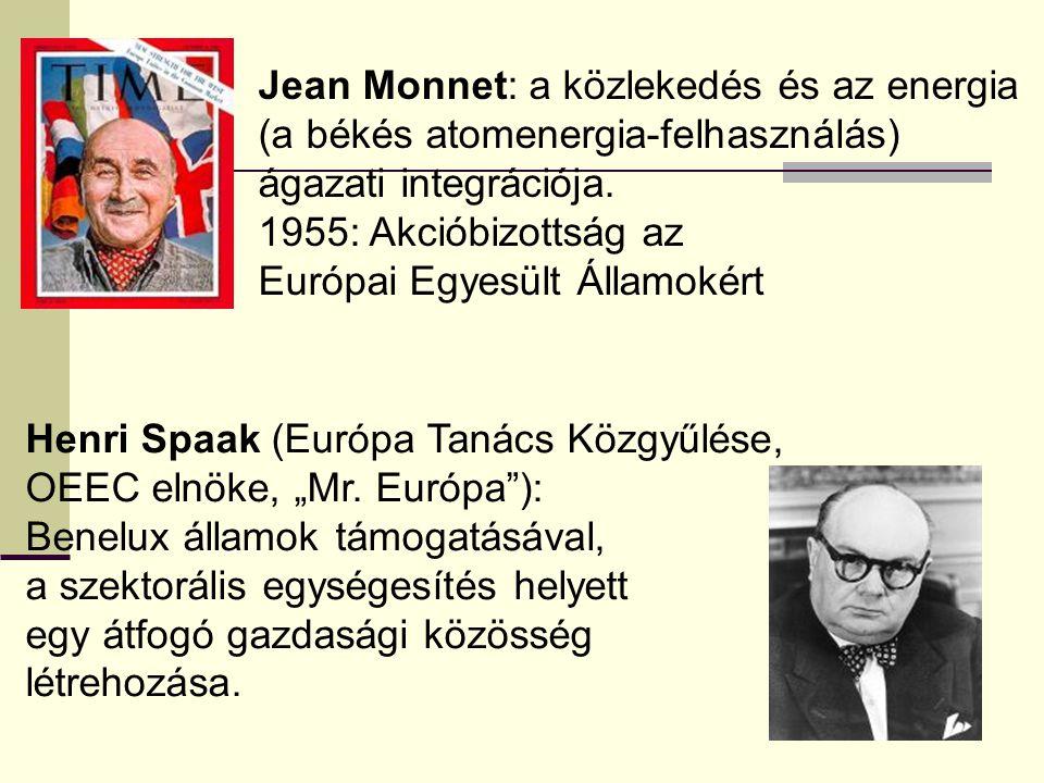 Jean Monnet: a közlekedés és az energia (a békés atomenergia-felhasználás) ágazati integrációja. 1955: Akcióbizottság az Európai Egyesült Államokért H