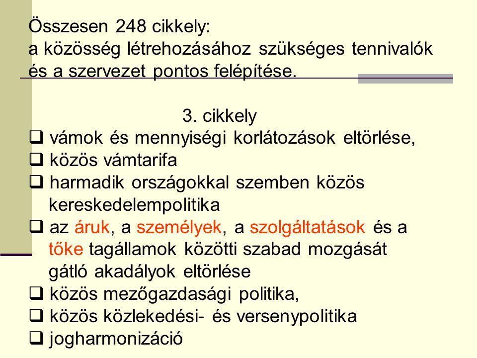 Összesen 248 cikkely: a közösség létrehozásához szükséges tennivalók és a szervezet pontos felépítése.