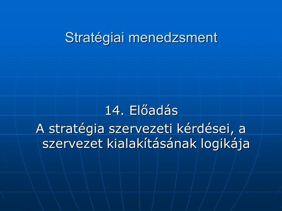 Stratégiai menedzsment 14. Előadás A stratégia szervezeti kérdései, a szervezet kialakításának logikája