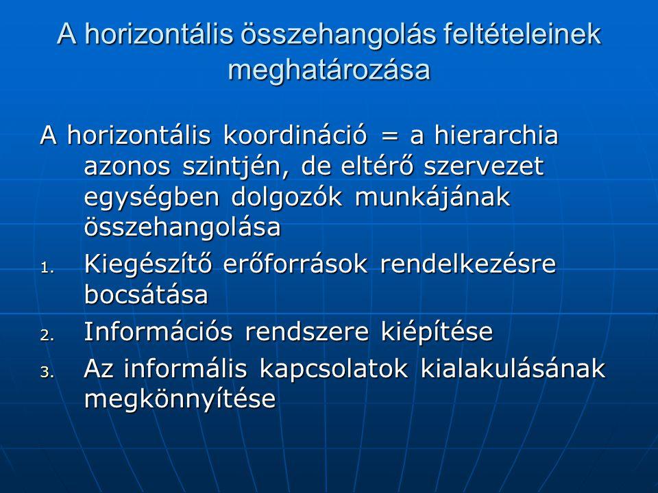A horizontális összehangolás feltételeinek meghatározása A horizontális koordináció = a hierarchia azonos szintjén, de eltérő szervezet egységben dolg