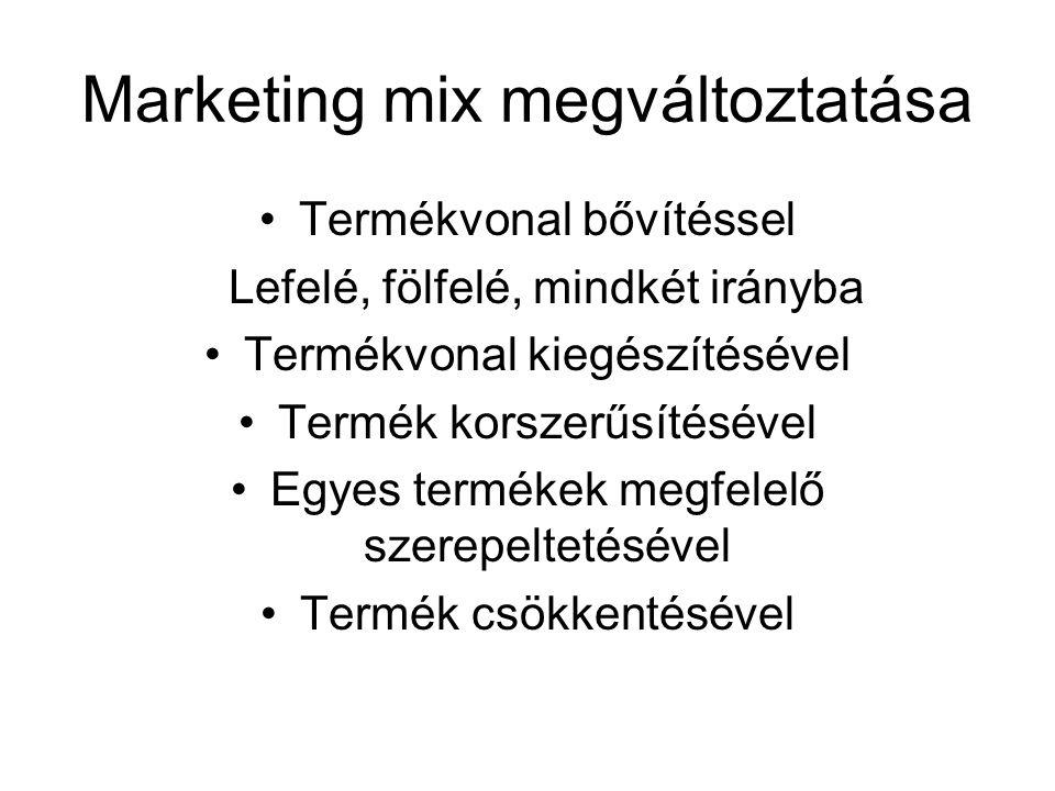 Marketing mix megváltoztatása Termékvonal bővítéssel Lefelé, fölfelé, mindkét irányba Termékvonal kiegészítésével Termék korszerűsítésével Egyes termé