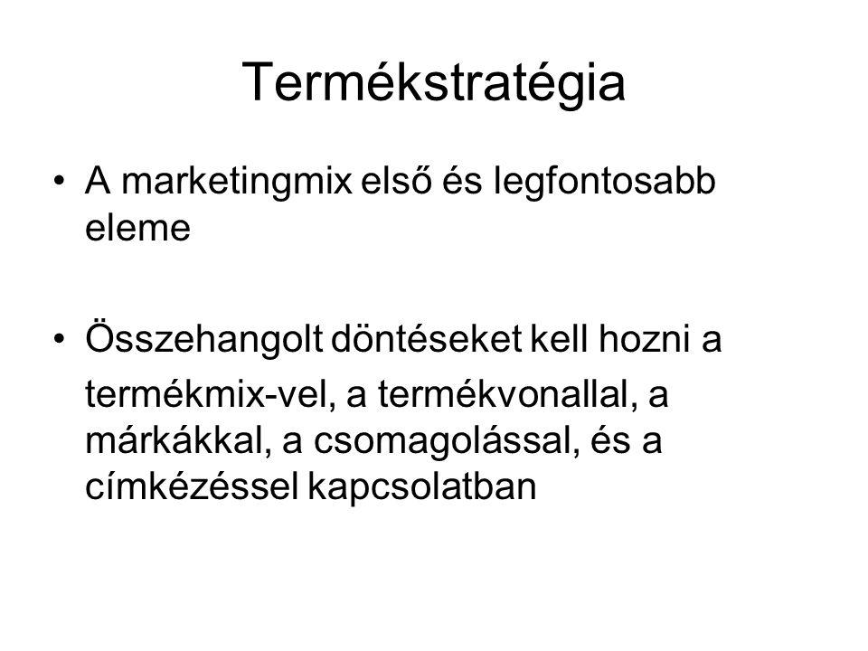 Termékstratégia A marketingmix első és legfontosabb eleme Összehangolt döntéseket kell hozni a termékmix-vel, a termékvonallal, a márkákkal, a csomago