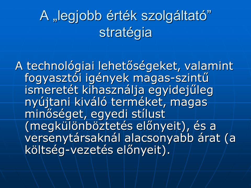 """A """"legjobb érték szolgáltató stratégia A technológiai lehetőségeket, valamint fogyasztói igények magas-szintű ismeretét kihasználja egyidejűleg nyújtani kiváló terméket, magas minőséget, egyedi stílust (megkülönböztetés előnyeit), és a versenytársaknál alacsonyabb árat (a költség-vezetés előnyeit)."""
