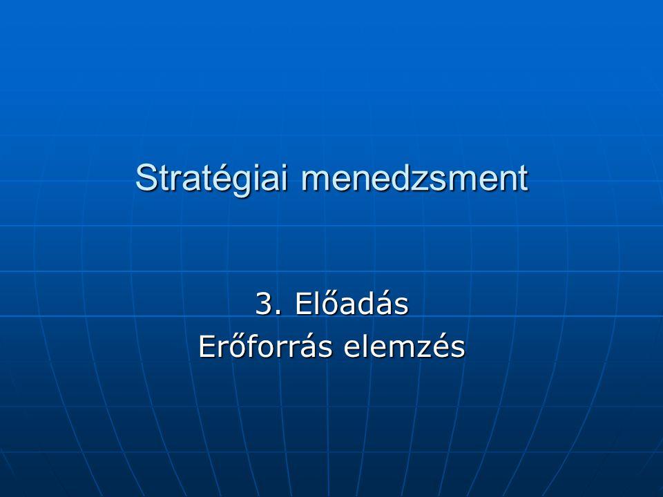 Stratégiai menedzsment 3. Előadás Erőforrás elemzés