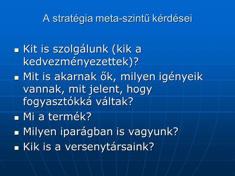 A stratégia meta-szintű kérdései Kit is szolgálunk (kik a kedvezményezettek)? Kit is szolgálunk (kik a kedvezményezettek)? Mit is akarnak ők, milyen i