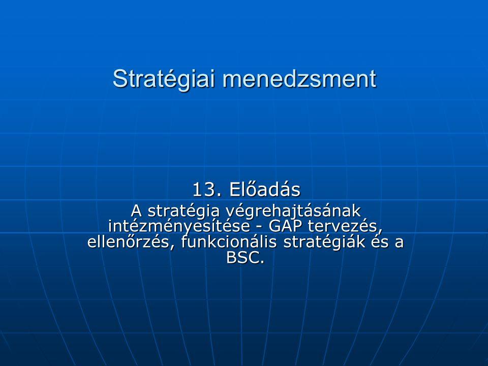 Stratégiai menedzsment 13. Előadás A stratégia végrehajtásának intézményesítése - GAP tervezés, ellenőrzés, funkcionális stratégiák és a BSC.