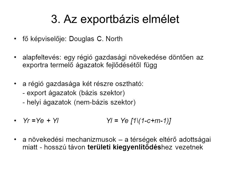 3. Az exportbázis elmélet fő képviselője: Douglas C. North alapfeltevés: egy régió gazdasági növekedése döntően az exportra termelő ágazatok fejlődésé
