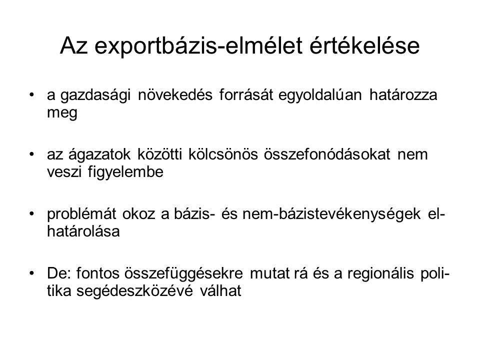 Az exportbázis-elmélet értékelése a gazdasági növekedés forrását egyoldalúan határozza meg az ágazatok közötti kölcsönös összefonódásokat nem veszi fi