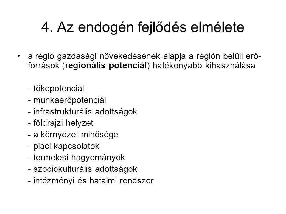 4. Az endogén fejlődés elmélete a régió gazdasági növekedésének alapja a régión belüli erő- források (regionális potenciál) hatékonyabb kihasználása -