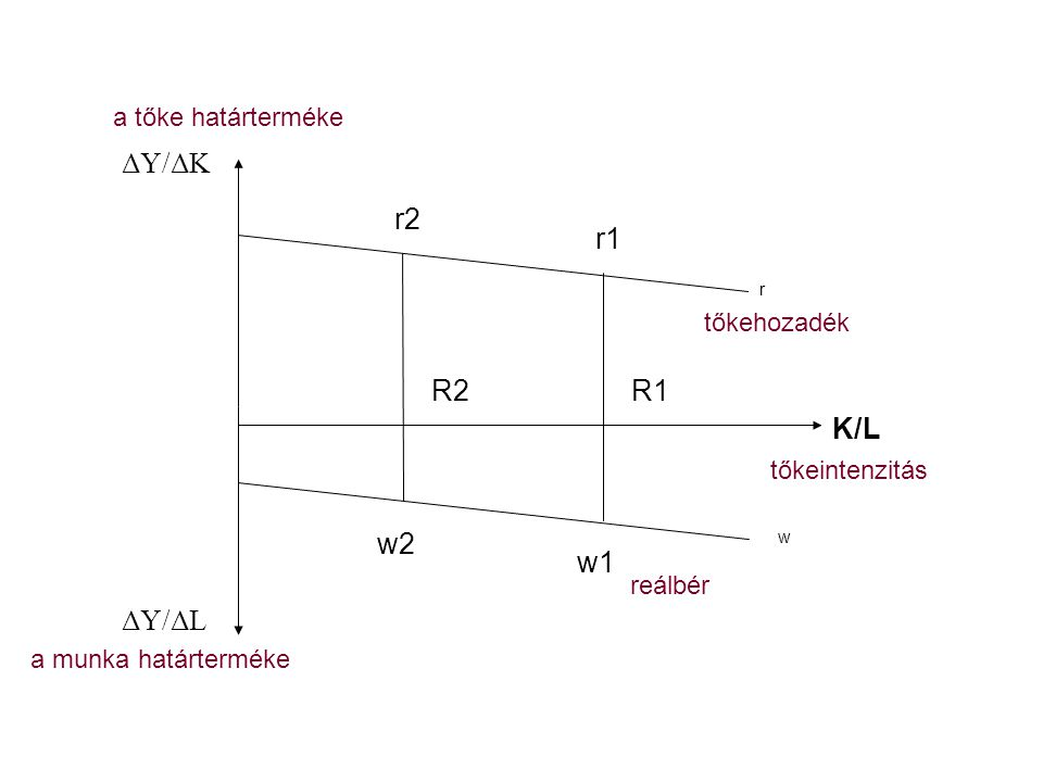 K/L ΔY/ΔK ΔY/ΔL r2 r1 R2R1 r w2 w1 w reálbér tőkehozadék tőkeintenzitás a tőke határterméke a munka határterméke