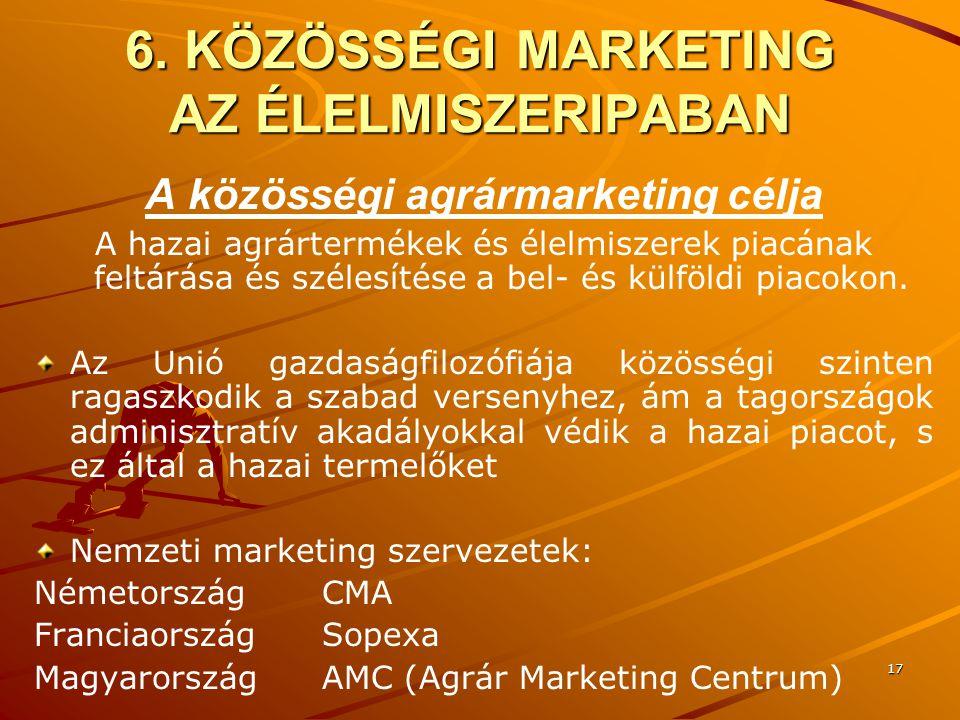 17 6. KÖZÖSSÉGI MARKETING AZ ÉLELMISZERIPABAN A közösségi agrármarketing célja A hazai agrártermékek és élelmiszerek piacának feltárása és szélesítése