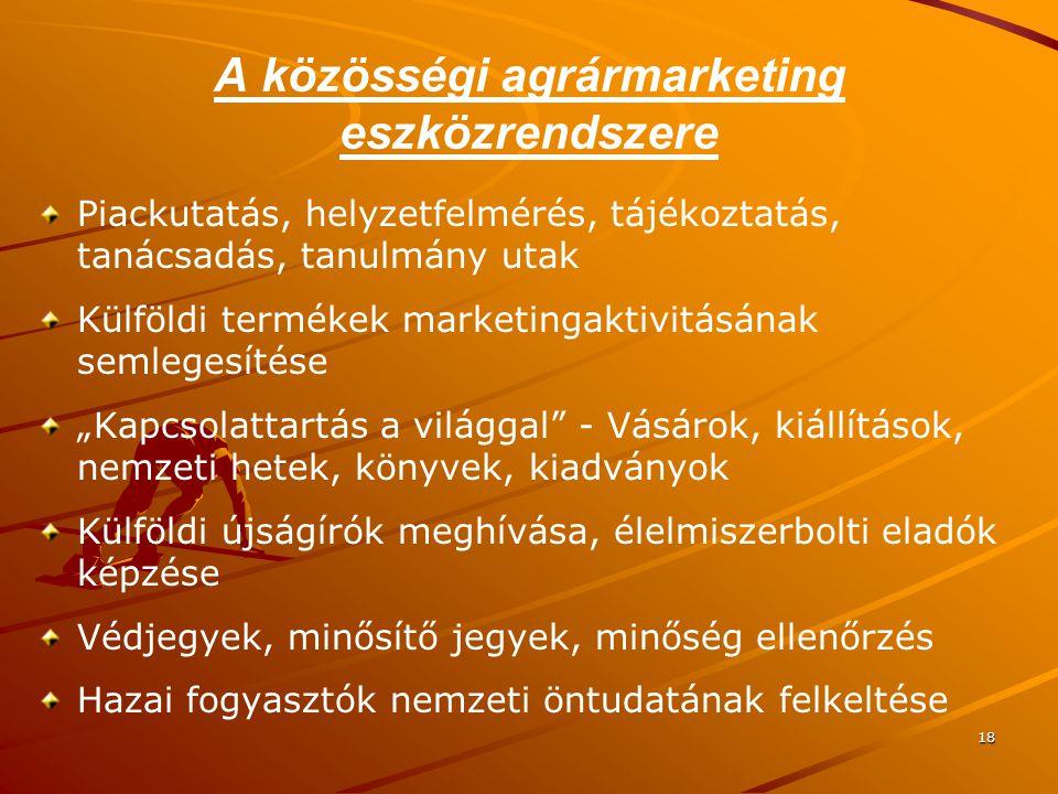 18 A közösségi agrármarketing eszközrendszere Piackutatás, helyzetfelmérés, tájékoztatás, tanácsadás, tanulmány utak Külföldi termékek marketingaktivi