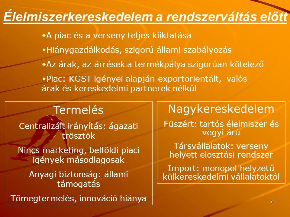 3 Élelmiszerkereskedelem a rendszerváltás előtt Termelés Centralizált irányítás: ágazati trösztök Nincs marketing, belföldi piaci igények másodlagosak