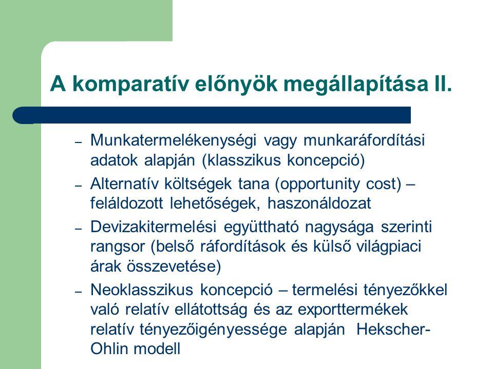 A komparatív előnyök megállapítása II. – Munkatermelékenységi vagy munkaráfordítási adatok alapján (klasszikus koncepció) – Alternatív költségek tana