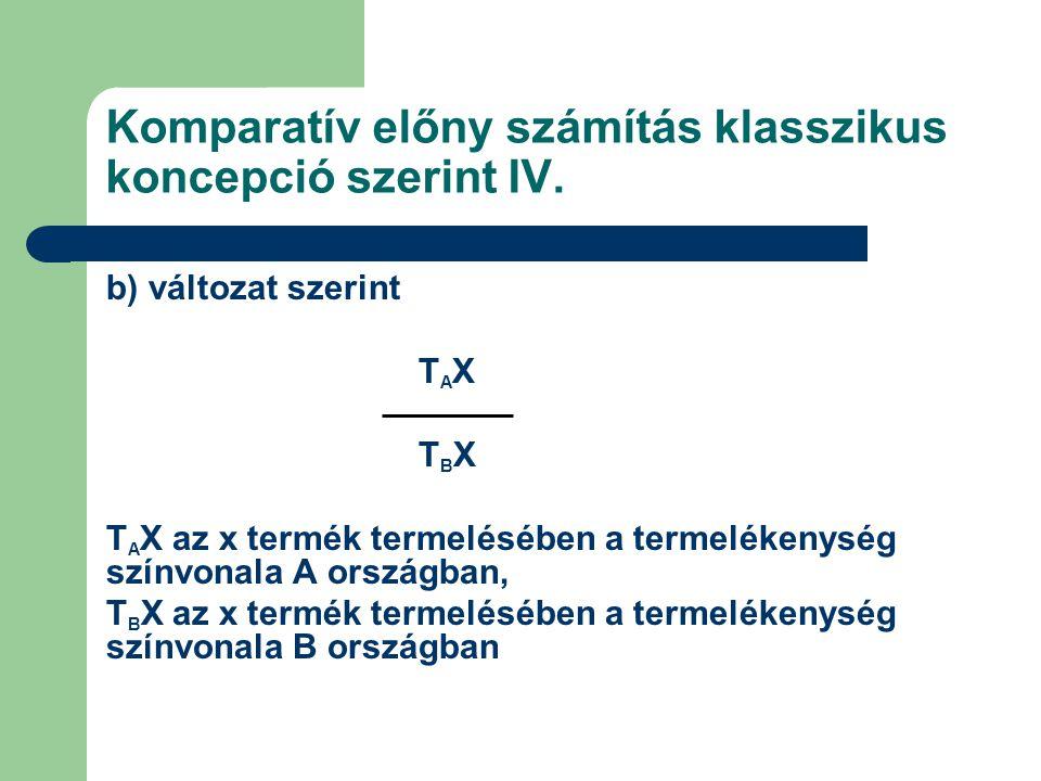 Komparatív előny számítás klasszikus koncepció szerint IV. b) változat szerint T A X T B X T A X az x termék termelésében a termelékenység színvonala