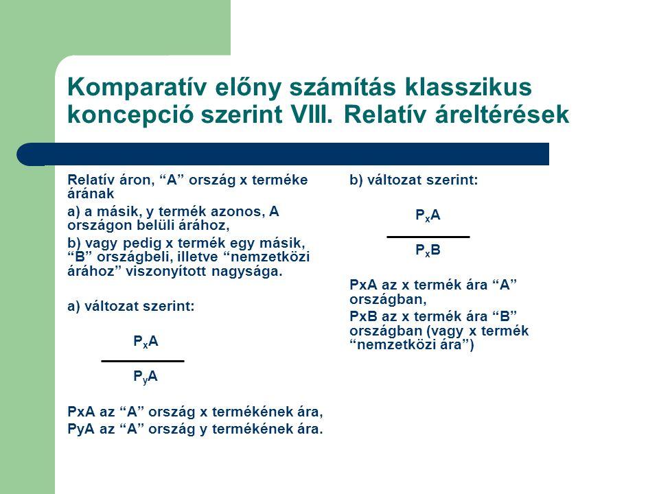 Komparatív előny számítás klasszikus koncepció szerint VIII.