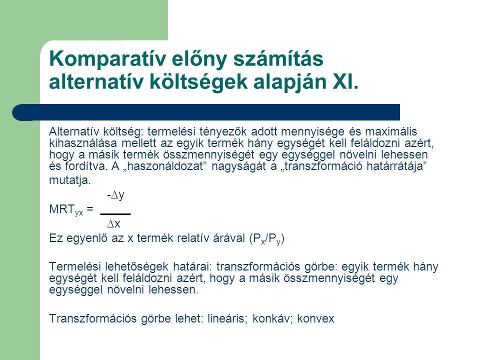 Komparatív előny számítás alternatív költségek alapján XI. Alternatív költség: termelési tényezők adott mennyisége és maximális kihasználása mellett a