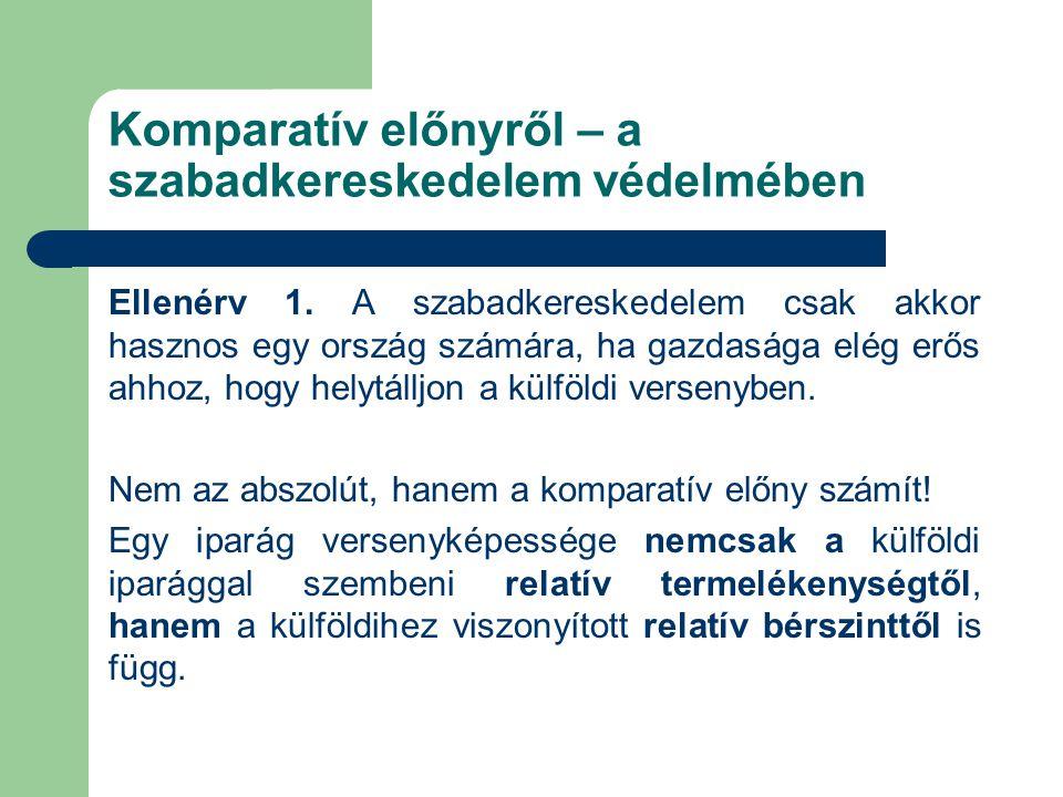 Komparatív előnyről – a szabadkereskedelem védelmében Ellenérv 1.