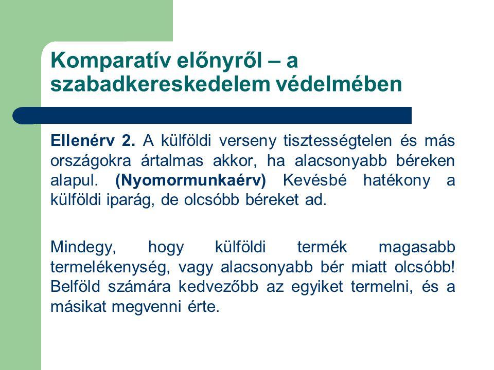Komparatív előnyről – a szabadkereskedelem védelmében Ellenérv 2.