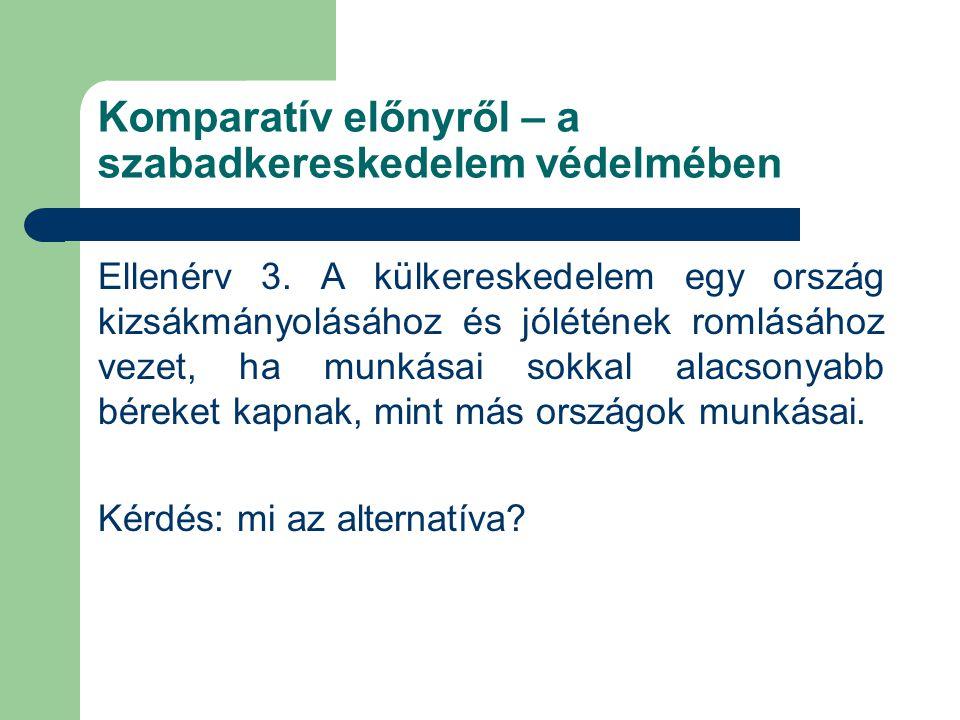 Komparatív előnyről – a szabadkereskedelem védelmében Ellenérv 3.