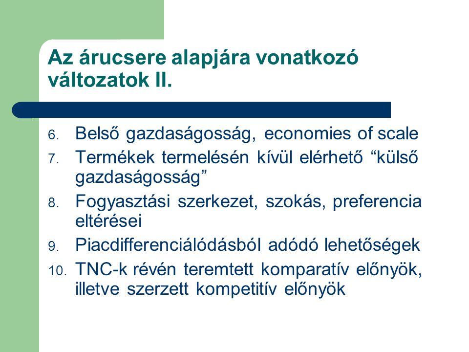 """Az árucsere alapjára vonatkozó változatok II. 6. Belső gazdaságosság, economies of scale 7. Termékek termelésén kívül elérhető """"külső gazdaságosság"""" 8"""
