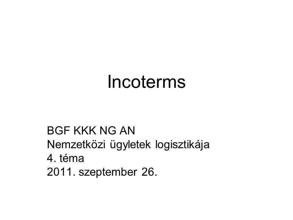 Incoterms BGF KKK NG AN Nemzetközi ügyletek logisztikája 4. téma 2011. szeptember 26.