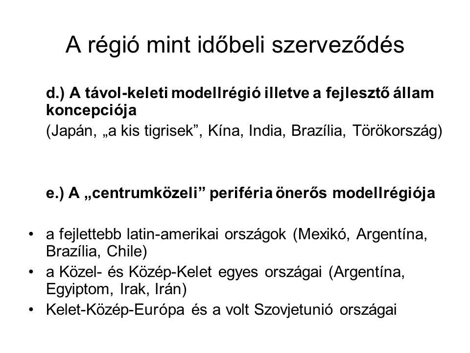 """A régió mint időbeli szerveződés d.) A távol-keleti modellrégió illetve a fejlesztő állam koncepciója (Japán, """"a kis tigrisek"""", Kína, India, Brazília,"""