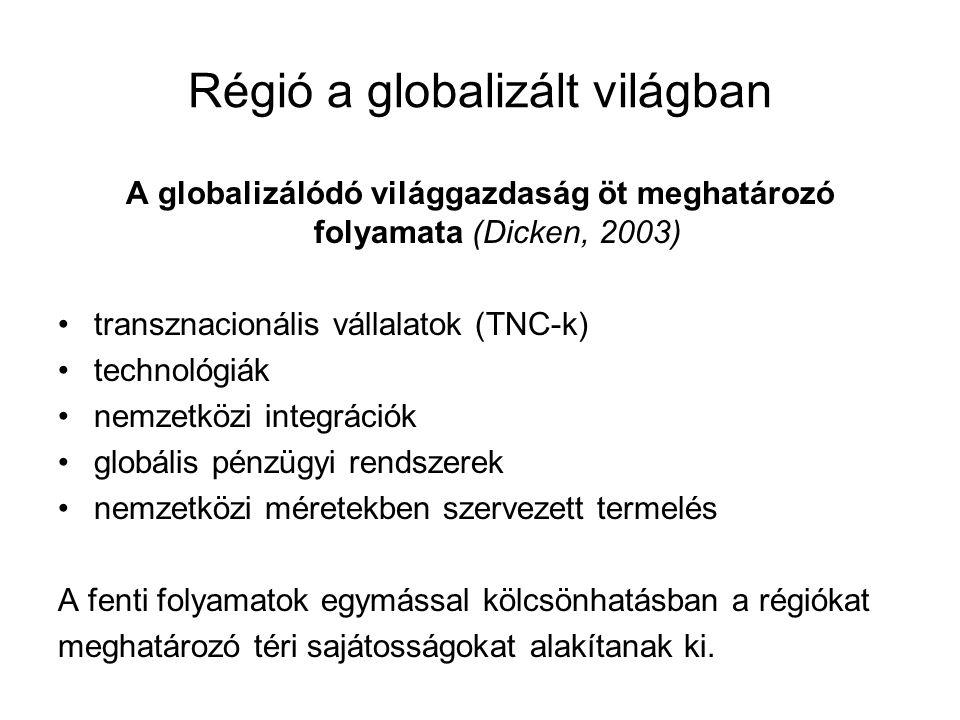 Régió a globalizált világban A globalizálódó világgazdaság öt meghatározó folyamata (Dicken, 2003) transznacionális vállalatok (TNC-k) technológiák ne