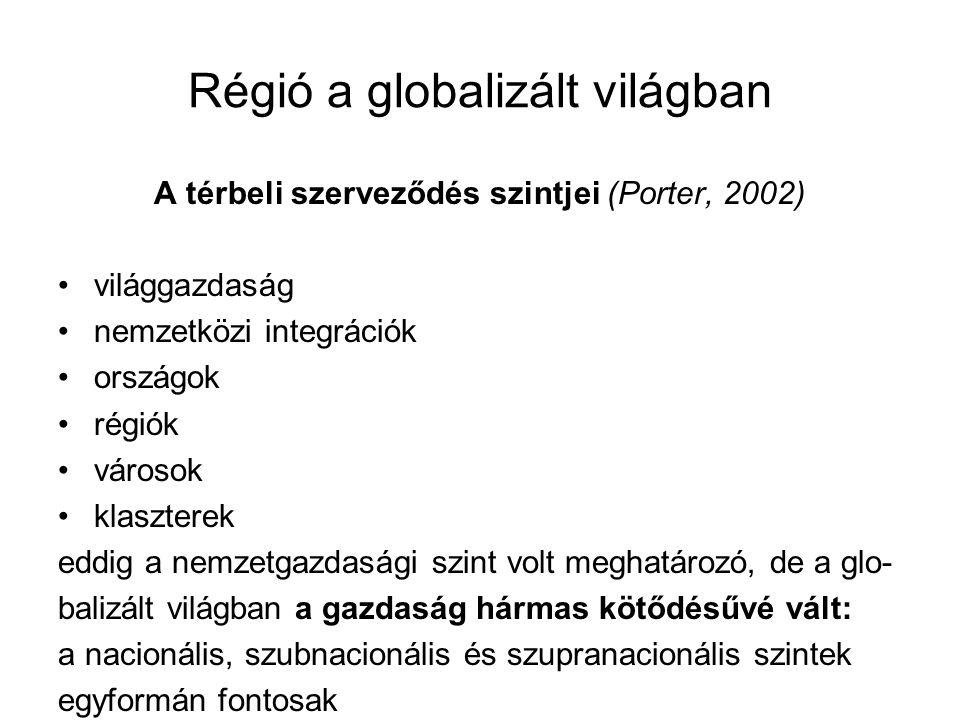 Régió a globalizált világban a vállalatok versenyképessége az eddigiekhez képest sokkal nagyobb mértékben függ a lokális környezettől és gyökerektől → a regionális szint felértékelődése mindezek következtében felerősödött a regionális spe- cializáció → a vállalatok azokra a tevékenységekre sza- kosodnak, amelyeket a lokális kulturális közeg felerősít a regionális specializáció nemcsak az elkülönülést, hanem a térségek egyre szorosabb együttműködését is magával hozta → újregionalizmus